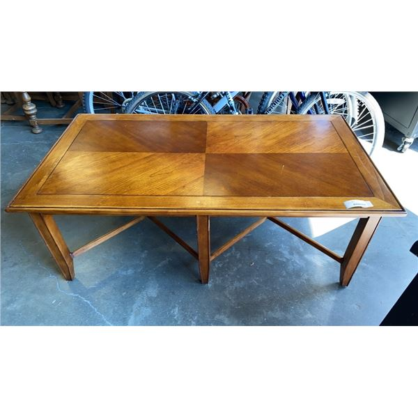 WOOD COFFEE TABLE - 52 x 28 INCHES X 20 TALL