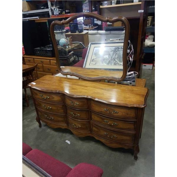 Vintage 9 drawer dresser with vanity mirror - 65 inches wide x 67 tall with mirror x 20 deep