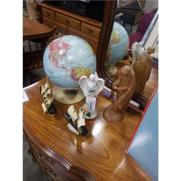 2 CARVED BOATS, 2 WOOD FIGURES, AND GLOBE