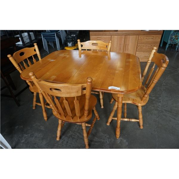 MAPLE DINING TABLE AND 4 CHAIRS - 4 FOOT X 3 FOOT X 30 INCHES TALL