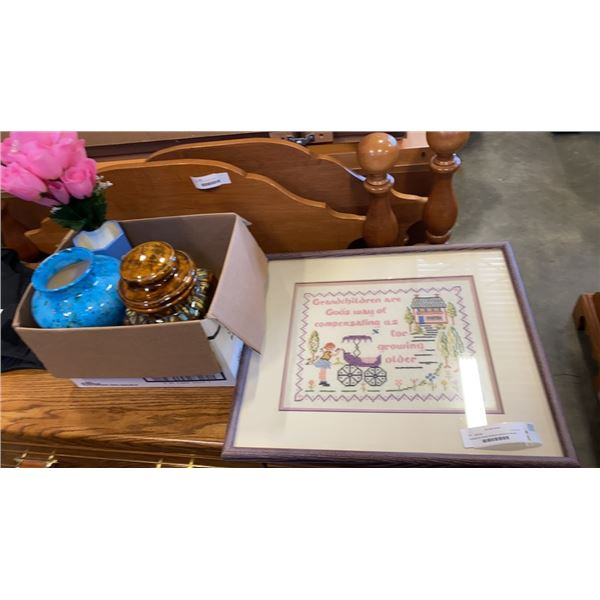 Grandparents framed stitchpoint and box of vase with cookie jar