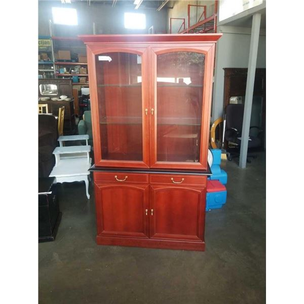 2 PIECE CHERRY FINISH DISPLAY CABINET - 44 INCHES WIDE X 75 TALL X 18.5 DEEP
