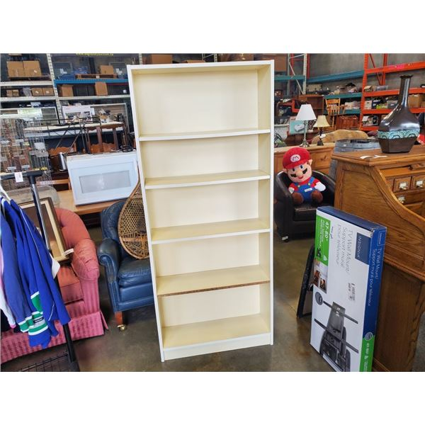 OFF WHITE STORAGE SHELF - 29.5 INCHES WIDE X 69.5 INCHES TALL X 9 DEEP