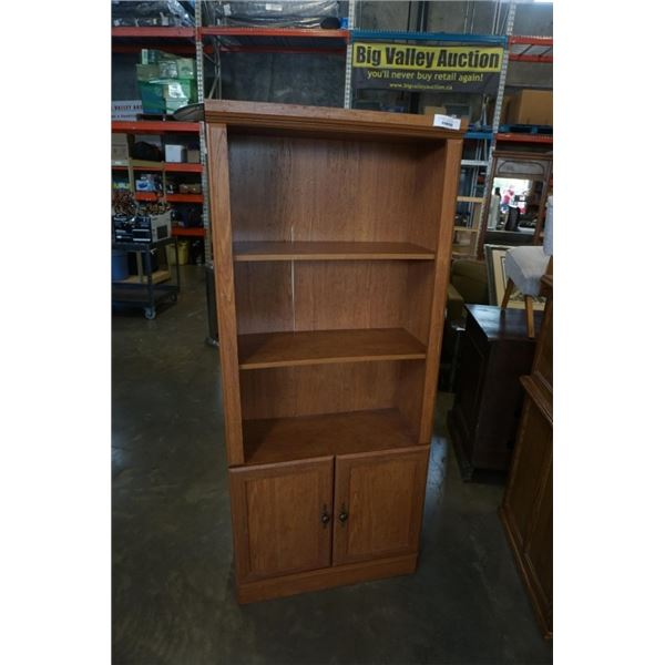 WOOD FINISH BOOKSHELF 30 INCHES WIDE X 70 INCHES TALL X 13 DEEP