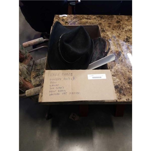 Box of western items, boots, hat, belt and more