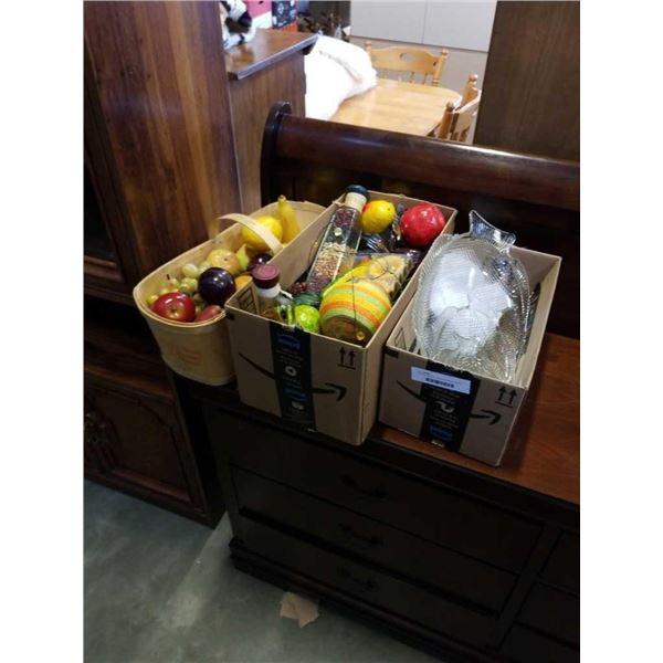 3 boxes of faux fruit, fruit basket and decorative bottled beans