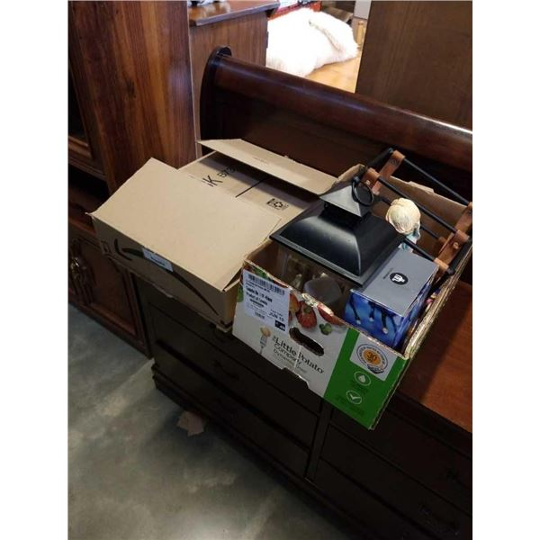 2 boxes of purses, lantern box statue and wine rack
