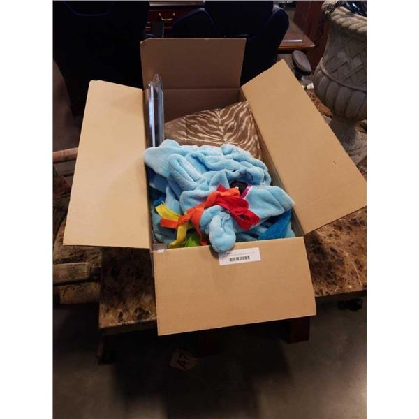 Box of curtains, sony remote, rainbow dash robe and more