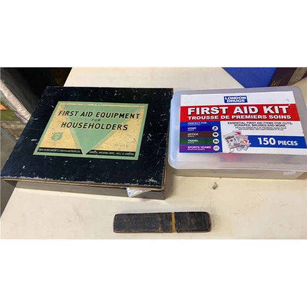 2 first aid kits, stethoscope and vintage shaver