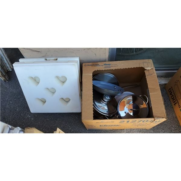Box of pots and pans with heart cutter mold
