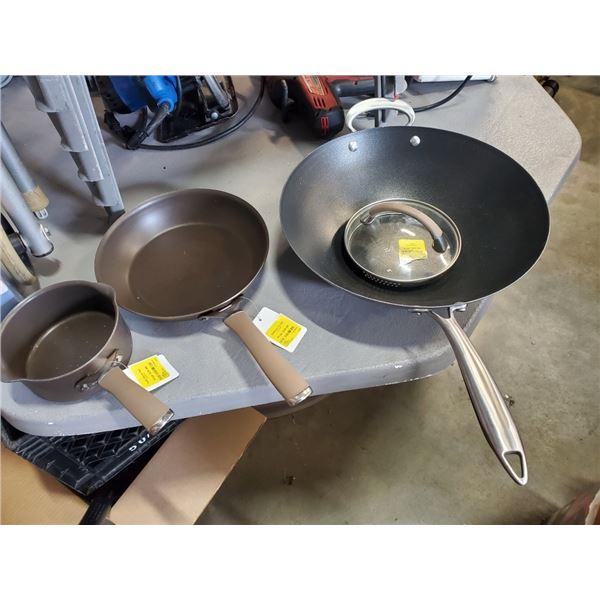 Nordic wear wok with circulon pot, pan and lid