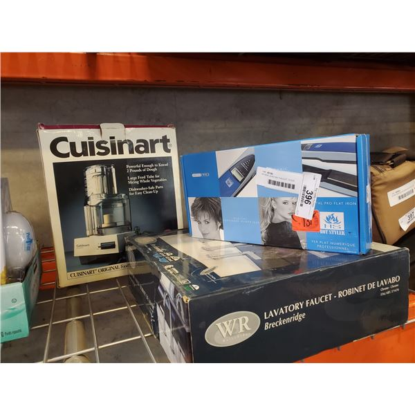 AS NEW LAVATORY FAUCET, FOOD PROCESSOR AND STYLING IRON
