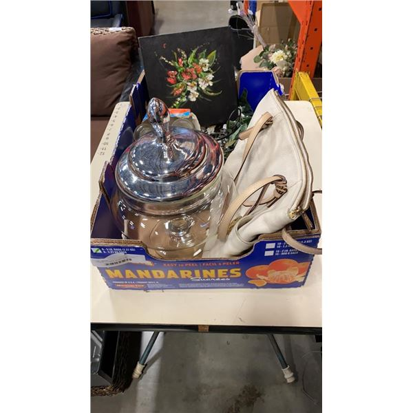 CANDLE HOLDERS, GLASS VASE, PURSE AND SMALL PAINTING