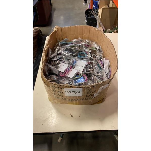 BOX OF APPROX 300 PAIRS OF NEW EARRINGS