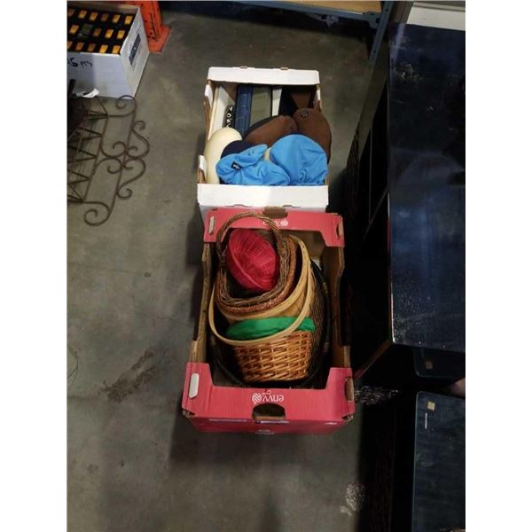 3 BOXES OF WICKER BASKETS, NECK PILLOWS AND PHOTO ALBUMS