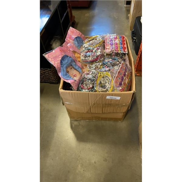 LARGE BOX OF HAIR ACCESSORIES AND HAIR TOWELS
