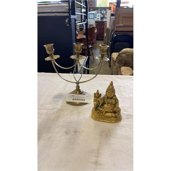 BUDDAH FIGURE AND CANDELABRA