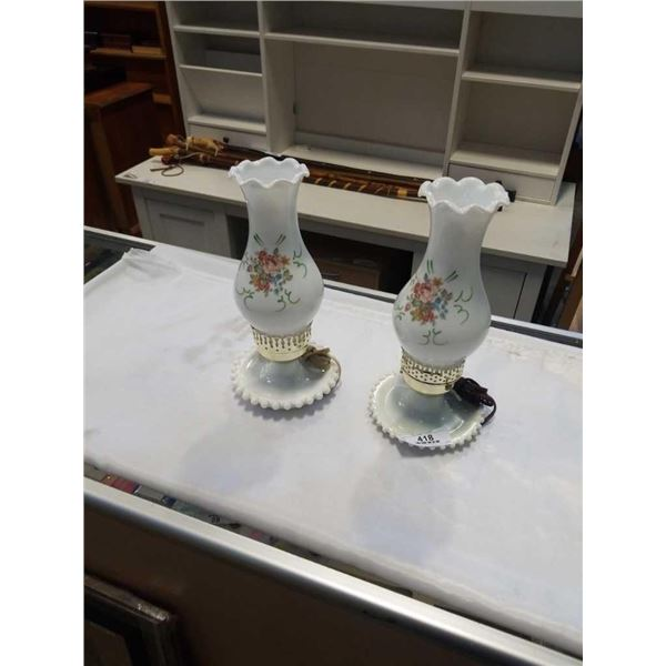 2 ELECTRIFIED OIL LAMPS