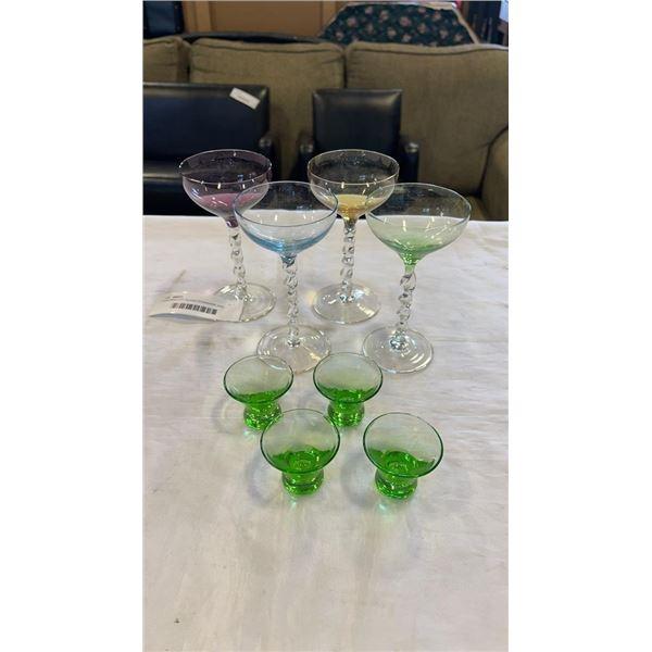COLORED ART GLASS STEMWARE AND SMALL GREEN GLASSES