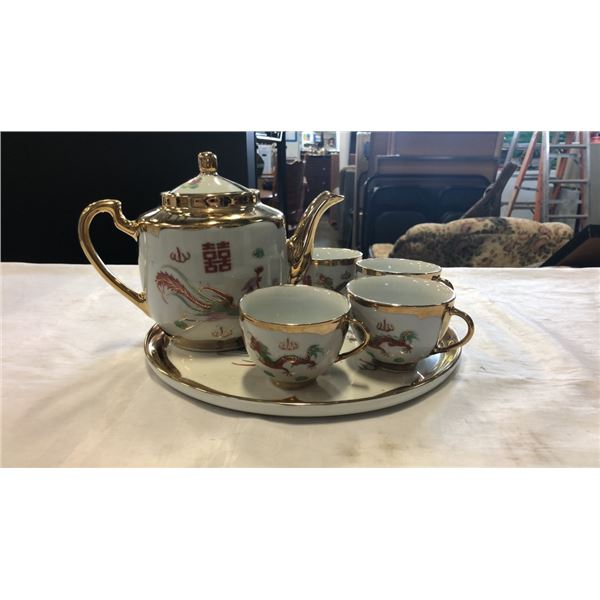 HAND PAINTED CHINA TEA SET - TEAPOT WITH 4 CUPS AND TRAY