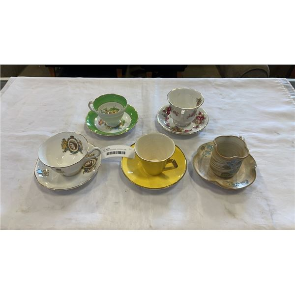 5 CUPS AND SAUCERS, 4 CHINA, ONE POTTERY - PARAGON, ROYAL ALBERT AND ROYAL WINTON