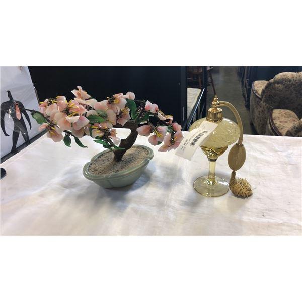 JADE TREE, ART GLASS PERFUME BOTTLE