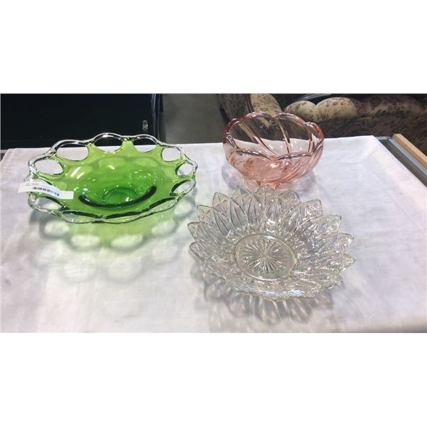 GREEN ART GLASS DISH, PINK GLASS BOWL AND CARNIVAL GLASS BOWL