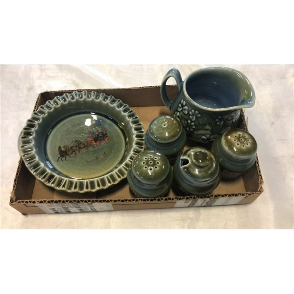 TRAY OF IRISH PORCELAIN CHINA - CREAM AND SUGAR, SALT AND PEPPER AND HAND PAINTED DISH