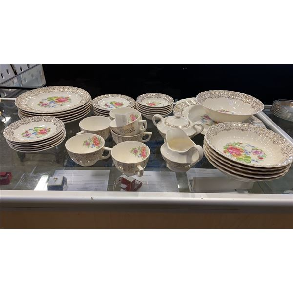 39 PIECES LIMOGES AND LIMOGE STYLE CHINA CUPS SAUCERS, PLATES, BOWLS AND GLASS BOWLS AND PLATES