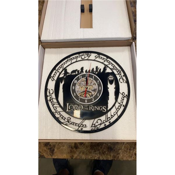 LORD OF THE RINGS LASER CUT RECORD CLOCK