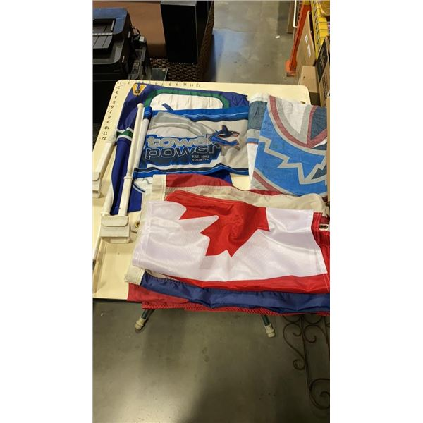 CANUCKS CAR FLAGS AND FLAG, UNITED STATES FLAG, CANADIAN FLAG