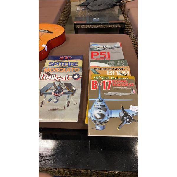 STACK OF HARDCOVER ILLUSTRATED AERONAUTICAL BOOKS BY RIKYU WATANABE
