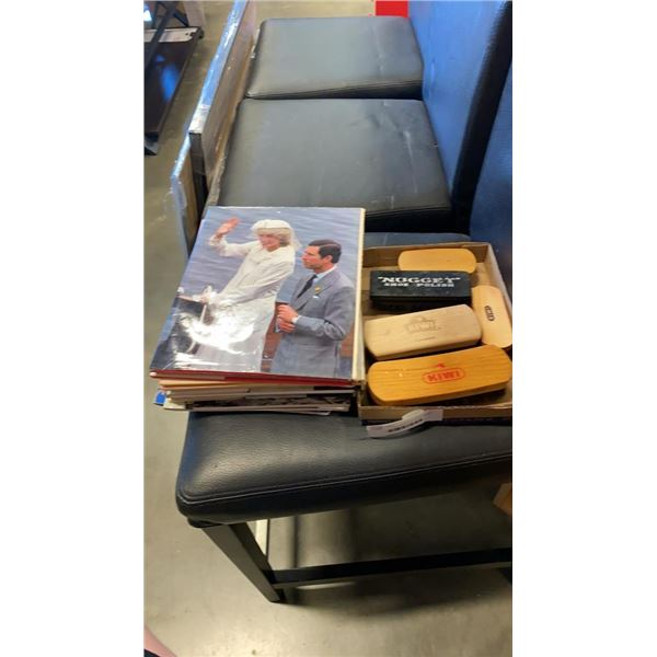 LOT OF ROYALTY BOOKS AND MAGAZINES AND SHOE POLISH BRUSHES