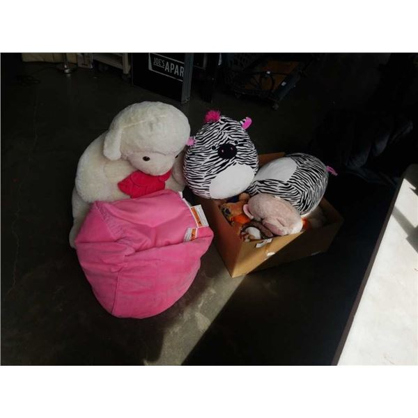 LOT OF STUFFED ANIMALS, GIANT LAMB AND BEAN BAG CHAIRS