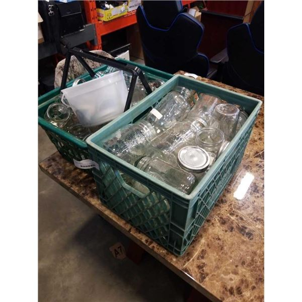 CRATE AND BASKET OF MASON JARS AND PAIL OF LIDS
