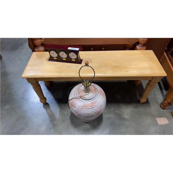 Pine bench, with 3 city clock and pottery lamp