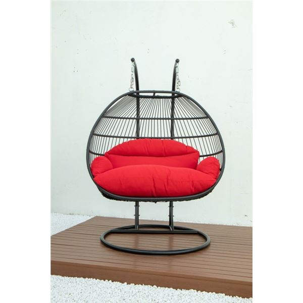 BRAND NEW RED DOUBLE HANGING EGG CHAIR - RETAIL $1969 W/ FOLDABLE FRAME, POWDER COATED STEEL FRAME,
