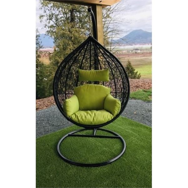 BRAND NEW RATTAN OUTDOOR GREEN TEAR DROP HANGING EGG CHAIR RETAIL $1249 W/  UV AND WATER RESISTANT W