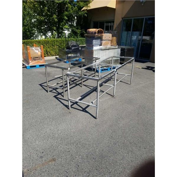 2 METAL TABLE BASES - 8 FOOT X 30 INCH X 3 FOOT TALL AND 6 FOOR X 30 INCH X 32 INCHES TALL