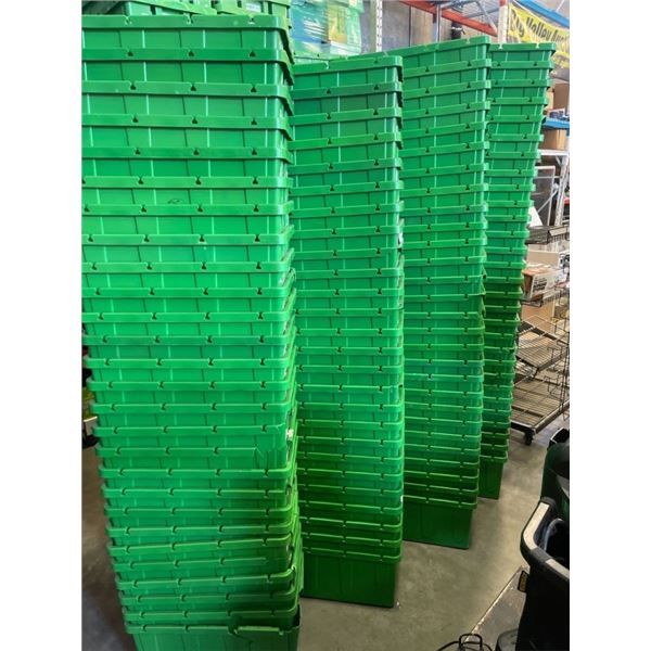Large lot of stacking green totes, assorted conditions from good to poor, and some broken approx 93