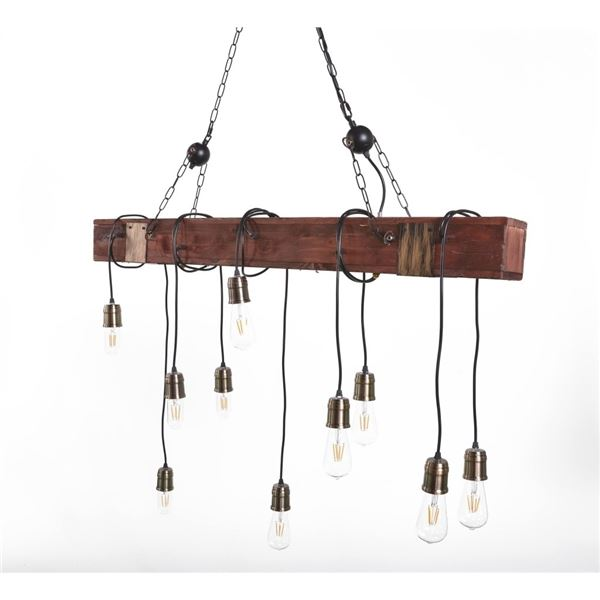 NEW MODERN RUSTIC INDUSTRIAL WOODEN LINEAR CHANDELIER LIGHT WITH DIMMABLE LIGHTBULBS
