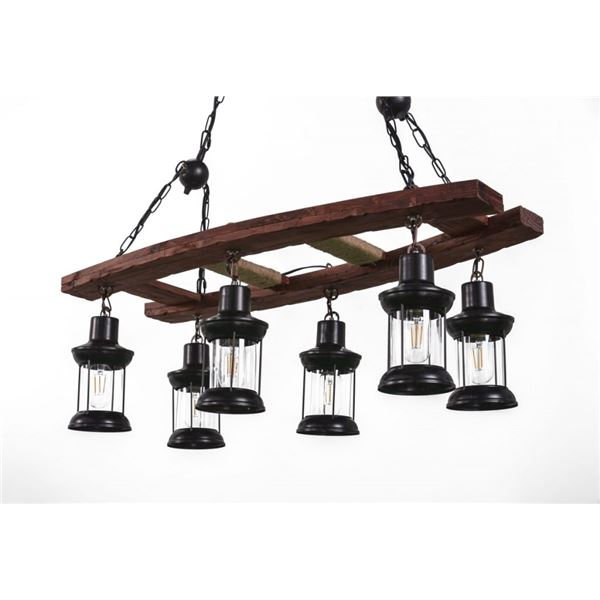 NEW RUSTIC INDUSTRIAL FARMHOUSE STYLE CHANDELIER LIGHT