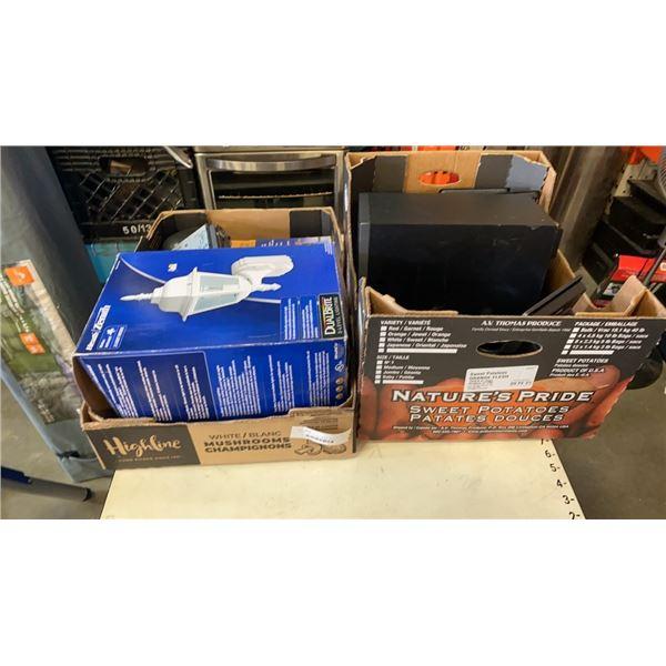 TEAC MICRO HIFI BOOKSHELF STEREO WITH SUB AND TRAY OF ELECTRONICS, LIGHTING