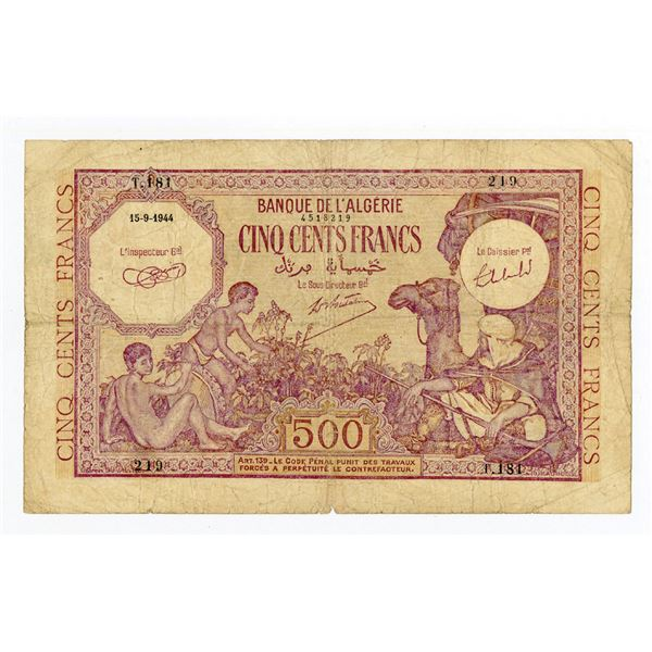 Banque de l'Algerie. 1944 Issue Banknote.