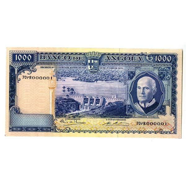 """Banco de Angola. 1970 Issued """"Serial Number 1"""", Banknote."""