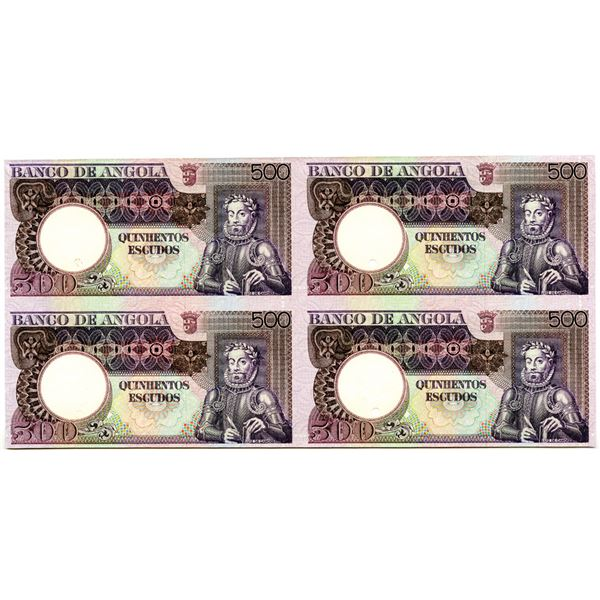 Banco de Angola, ND (1973) Uncut Banknote Sheet of 4 notes