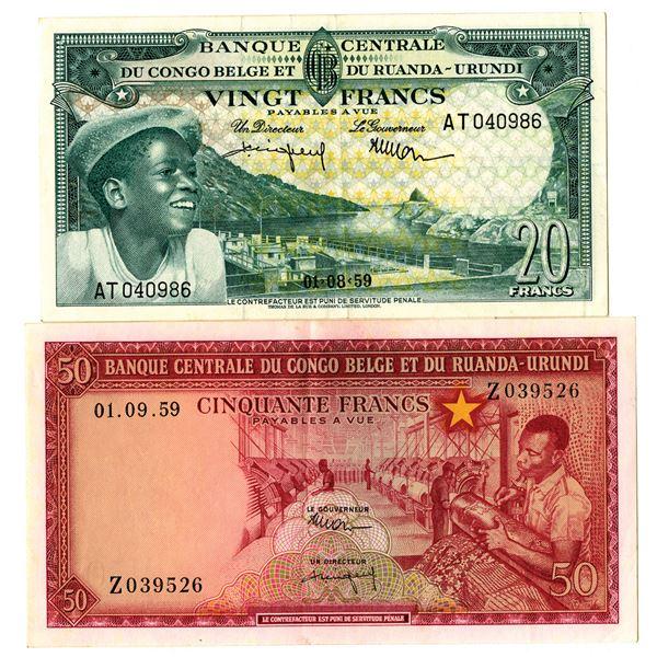 Banque Centrale du Congo Belge et du Ruanda-Urundi Issued Banknote Pair, 1959