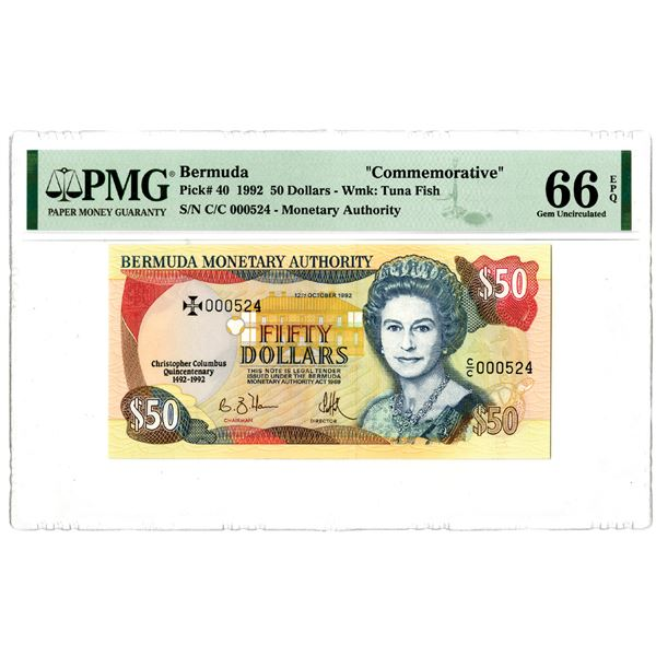 Bermuda Monetary Authority. 1992. Issued Commemorative Banknote.