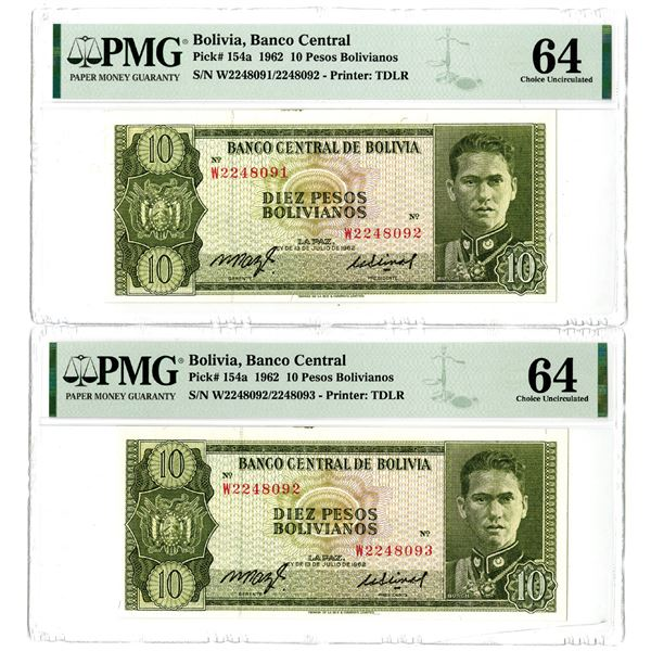 Banco Central de Bolivia, 1962 Issued Sequential Error Banknote Pair
