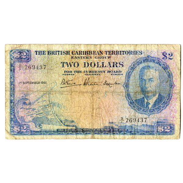 British Caribbean Territories, Eastern Group, 1951 Issued Banknote